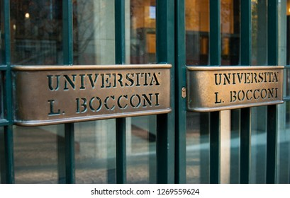 Milan, Italy - 11/28/2018: Double handles of the economic managerial and legal sciences University entrance