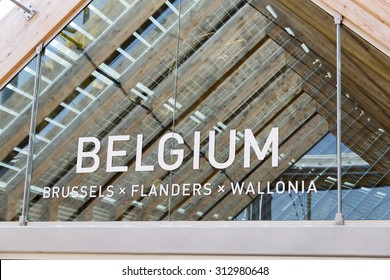 Milan, Italy, 12 August 2015: Detail of the Belgium pavilion at the exhibition Expo 2015 Italy.