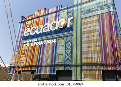 Milan, Italy, 12 August 2015: Detail of the Equador pavilion at the exhibition Expo 2015 Italy.