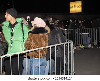 MILAN; Italy 13 January 2019: People waiting celebrities before and after Prada fashion show,  during Milano Fashion week man Fall/Winter 2019/2020
