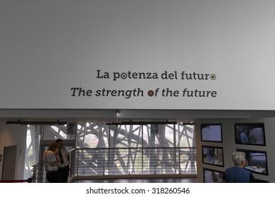 """Milan, Italy, 13 September 2015: Inside Italian pavilion """"Palazzo Italia"""" at the exhibition Milan Expo 2015"""