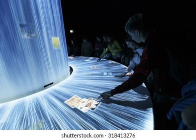 Milan, Italy, 13 September 2015: Inside Japan pavillion of EXPO 2015, in Milan.