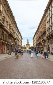 Milan, Italy - 14.08.2018: Dante street (Via Dante) in the center of Milan.