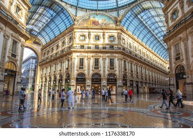 Milan, Italy - 14.08.2018: interior of the Vittorio Emanuele II Gallery, square Duomo, in the city center of Milan.