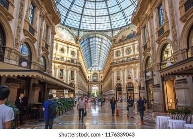 Milan, Italy - 14.08.2018: interior of the Vittorio Emanuele II Gallery, square Duomo, in the city center of Milan.