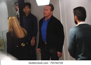 Milan, Italy - 15,11,2017 Arnold Schwarzenegger and Heather Milligan shopping in Milan