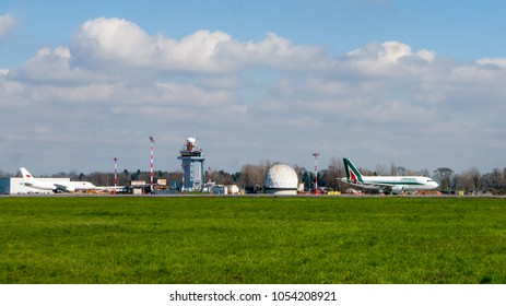 Milan, Italy - 16 March 2018: Infrastructure and airplanes of Milano Malpensa airport