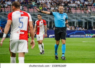 Milan, Italy. 17 September 2019. UEFA Champions League, Inter vs Slavia Praha 1-1. Ruddy Buquet, referee of the match.