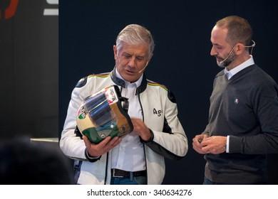 Milan, Italy, 17th november 2015: Giacomo Agostini, former world champion, shows his racing helmet