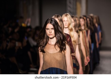 Milan, Italy - 18 September 2014 - Uma Wang Fashion - spring summer 2015 - during Milan fahion week on 18.09.2014