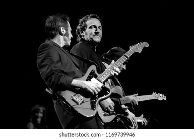 Milan Italy, 19 April 1999 ,Live concert of Bruce Springsteen & The E Street Band at the FilaforumAssago: The singer Bruce Springsteen and Nils Lofgren during the concert