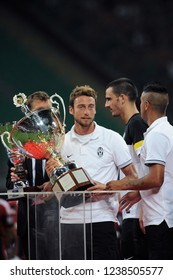 """Milan  Italy, 19 August  2012, """"G.MEAZZA SAN SIRO """" Stadium, Trofeo Berlusconi 2012/2013,  AC Milan - FC Juventus: Claudio Marchisio at the end of the match during the awards ceremony"""