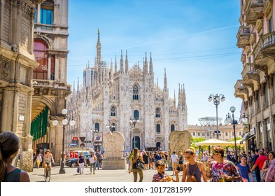 MILAN, ITALY, 19 JUNE 2017: Cathedral Duomo di Milano  in Square Piazza Duomo at morning, Milan