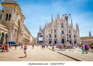 MILAN, ITALY, 19 JUNE 2017: Teatro La Scala-  famous opera house in Milan, Italy.Cathedral Duomo di Milano  and Vittorio Emanuele gallery  at morning