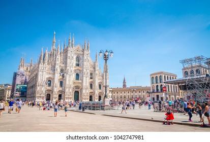 MILAN, ITALY, 19 JUNE 2017: Cathedral Duomo di Milano  in Square Piazza Duomo at morning, Milan, Italy
