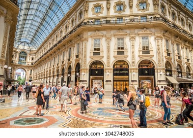 MILAN, ITALY, 19 JUNE 2017: Vittorio Emanuele gallery in Square Piazza Duomo at morning, Milan, Italy
