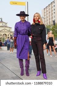 MILAN, Italy: 19 september 2018: Shea Marie and Caroline Vreeland posing  before Alberta Ferretti fashion show during Milan fashion week Fall/winter 2018/2019.