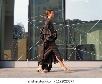 MILAN, Italy: 19 september 2018: Model streetstyle outfit before Alberta Ferretti fashion show during Milan fashion week Fall/winter 2018/2019.