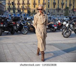 MILAN, Italy: 19 september 2018 :CAROLINE DAUR posing before Alberta Ferretti fashion show during Milan fashion week Fall/winter 2018/2019.