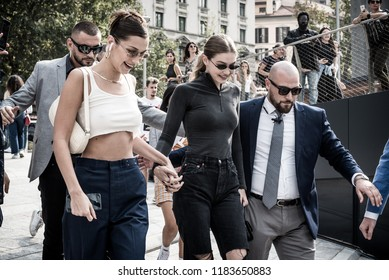 Milan, Italy. 19th sep, 2018. Gigi and Bella Hadid arrive at Alberta Ferretti fashion show for the Milan fashion week in Milan, Italy.