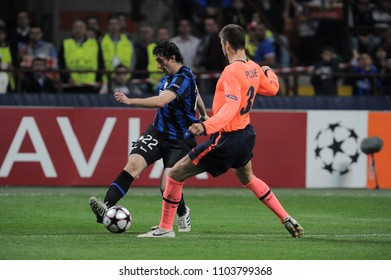"""Milan, Italy , 20 April 2010, """"G.MEAZZA SAN SIRO """" Stadium,  UEFA Champions League 2009/2010, FC Inter - FC Barcelona: Diego Milito and Gerard Pique in action during the match"""