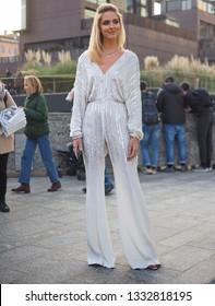 MILAN, Italy: 20 February 2019: Fashion blogger Chiara Ferragni street style outfit before Alberta Ferretti fashion show during Milan fashion week Fall/winter 2019/2020