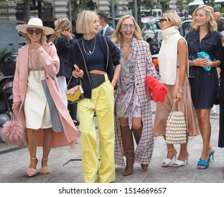 MILAN, Italy: 20 September 2019: Fashion blogger street style outfits before Sportmax  fashion show during Milan fashion week Spring/Summer 2019/2020