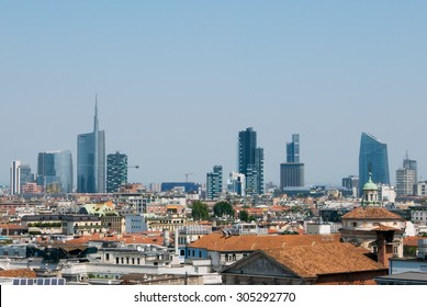 Milan, ,Italy - 2015 Skyline Milan with skyscrapers
