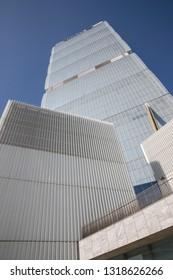 Milan (Italy) 2019/02/17 - Allianz Tower Skyscraper designed by the Japanese architect Arata Isozaki and the Italian architect Andrea Maffei, is part of the City Life Project.