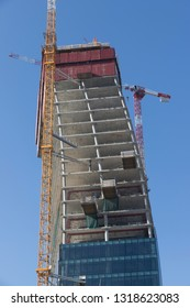 Milan (Italy) 2019/02/17 - Construction of the third tower of City Life, in Milan, designed by architect Daniel Libeskind.