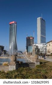 Milan (Italy) 2019/02/17 - The three towers of the Citylife project.
