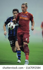 """Milan  Italy, 21 August 2010, """"G.MEAZZA SAN SIRO """" Stadium, Supercoppa Italiana 2010/2011,  FC Inter - AS Roma: Philippe Mexes in action during the match"""