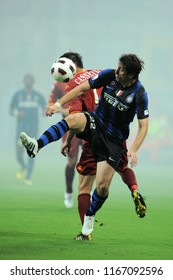 """Milan  Italy, 21 August 2010, """"G.MEAZZA SAN SIRO """" Stadium, Supercoppa Italiana 2010/2011,  FC Inter - AS Roma: Diego Milito in action during the match"""