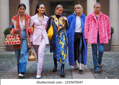 MILAN, Italy: 21 February 2019: Fashion bloggers posing in different outfits after Vivetta fashion show during Milan fashion week Fall/winter 2019/2020