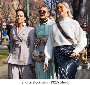 MILAN, Italy: 21 February 2019: Fashion bloggers street style outfits before Fendi fashion show during Milan fashion week Fall/winter 2019/2020