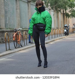 MILAN, Italy; 21 September 2018: Fashion blogger posing in street style outfit before SPORTMAX fashion show during MFW Fall/winter 2018-2019