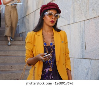 MILAN, Italy: 21september 2018:Fashion blogger in street style outfit after ACT 1 fashion show during Milan fashion week Fall/winter 2018/2019.