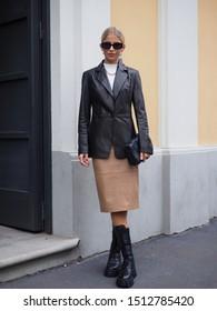 MILAN, Italy: 22 Septermber 2019: Fashion blogger Caroline Daur street style outfit before Boss fashion show during Milan fashion week Spring/Summer