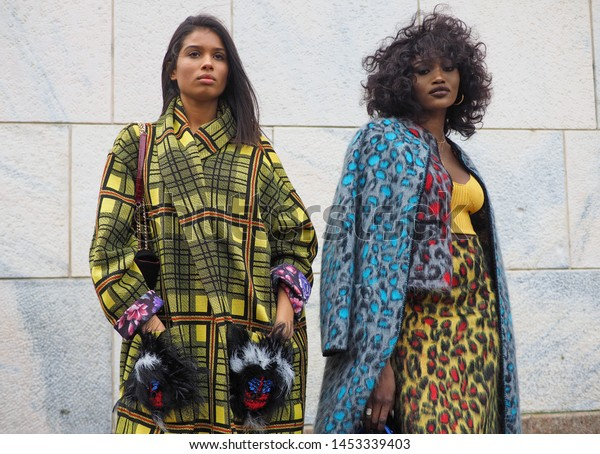 MILAN, Italy: 23 February 2019: Fashion bloggers street style outfits after Gabriele Colangelo fashion show during Milan fashion week Fall/winter 2019/2020