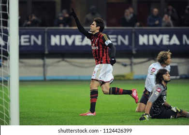 "Milan  Italy, 23 November 2013, ""G.MEAZZA SAN SIRO "" Stadium, Serious Football Championship A 2013/2014, AC Milan - CFC Genoa: Kaka celebrates after the goal"