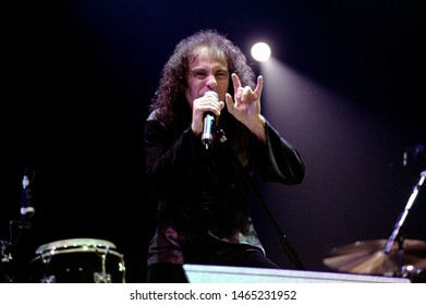 Milan Italy 23 October 2000 Live concert of Deep Purple & Romanian Philarmonic Orchestra + Ronnie James Dio at the Fila Forum Assago : Ronnie James Dio during the concert