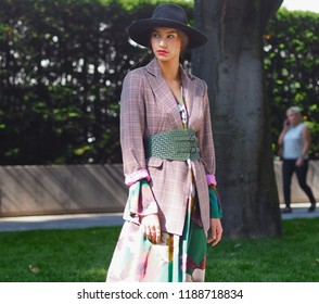 MILAN, Italy: 23 September 2018: Streetstyle in different outfits before Armani Fashion show 2018 during Milano Fashion week fall winter 2018/2019.