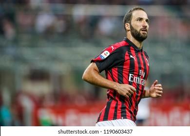 Milan, Italy. 23-09-2018. Campionato Italiano Serie A. Milan-Atalanta 2-2. Gonzalo Higuain, Milan.