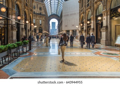 Milan Italy 24 April 2014 The beautiful and historic Galleria Vittorio Emanuele II is one of the worlds oldest shopping malls  located in central Milan