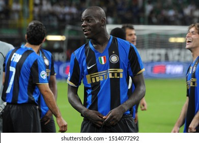 """Milan  Italy, 24 August 2008, """"G.MEAZZA SAN SIRO """" Stadium,  Football Super Cup Trophy 2008/2009,   FC Inter - AS Roma : Mario Balotelli before the award ceremony for the Italian Super Cup"""