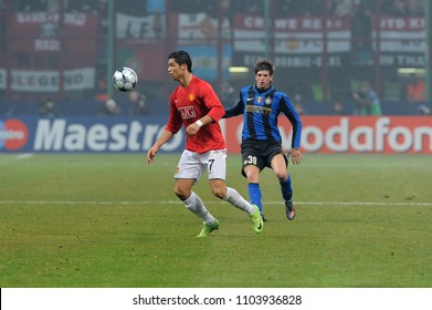 """Milan Italy , 24 February 2009, """"G.MEAZZA SAN SIRO """" Stadium,  UEFA Champions League 2008/2009, FC Inter - FC Manchester United : Cristiano Ronaldo in action during the match"""