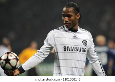 """Milan Italy , 24 February 2010, """"G.MEAZZA SAN SIRO """" Stadium,  UEFA Champions League 2009/2010, FC Inter - FC Chelsea: Didier Drogba in action  during the Match"""
