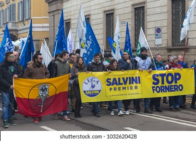 MILAN, ITALY - 24 FEBRUARY 2018: demonstration in support of far-right party Northern League and its leader Matteo Salvini.