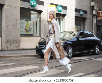 MILAN, Italy: 24 February 2019: Lisa Hahnbuck street style outfit after Dolce & Gabbana fashion show during Milan fashion week Fall/winter 2019/2020