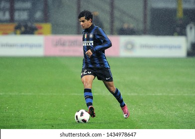 """Milan  Italy, 24 October 2010, """"G.MEAZZA SAN SIRO """" Stadium, Serious Football Championship A 2010/2011,   FC Inter - UC Sampdoria : Philippe Coutinho in action during the match"""